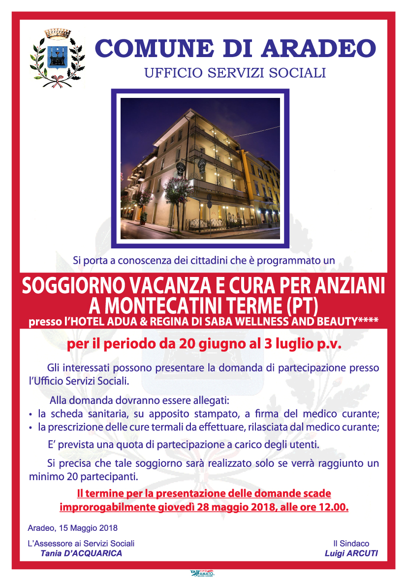Soggiorno vacanza e cura per anziani a Montecatini Terme (PT ...